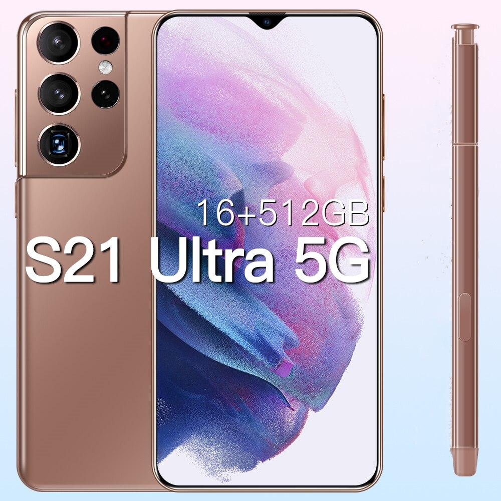 Глобальная версия Galxy S21Ultra 5G 16 ГБ 512 6,7 дюймов Android10 смартфон 6800 мА/ч, полный Экран Deca Core, размер экрана сети LTE мобильный телефон