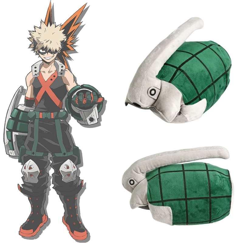 My Hero Academia Bakugo Katsuki Plush Toy Cosplay Gloves Props Cuff Arm Wrist Band Power Bracer Grenades Stuffed Toy Women Gift