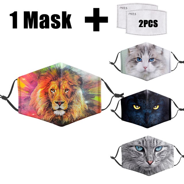 Animal 3D Print Masks Reusable Protective PM2.5 Filter Mouth-Muffle Washable anti dust Face Adult Mask Bacteria Proof Flu Mask