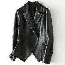 Sheath Black Casual Real Sheepskin Women Coat Classic High Quality Single Button Genuine Leather Simple Turn-down Collar Jacket
