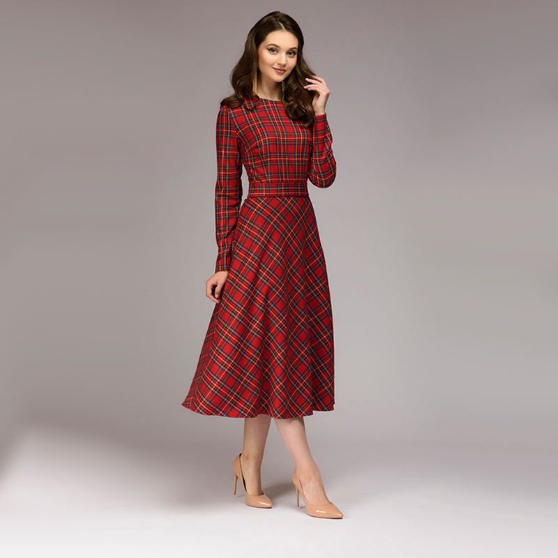 Women Vintage Sashes Red Plaid Dress Ladies Long Sleeve O Neck Elegant A Line Dress 2019 Autumn Winter Bow Tie Party Dress
