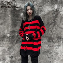 Hole Loose Korean Style Oversized Sweaters Women 2019  Autumn Winter Streetwear Hip Hop Cotton Long Knitted Pullover Sweater