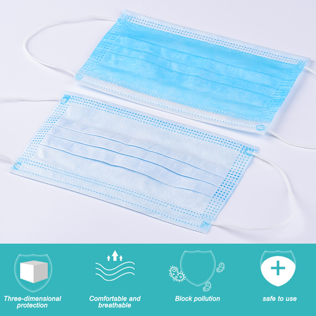 100pcs 3 Layer Non-Woven Dust Medical Mask Thickened Disposable Dust Bacteria Proof Mask Protective Mouth Mask Prevent Flu 2