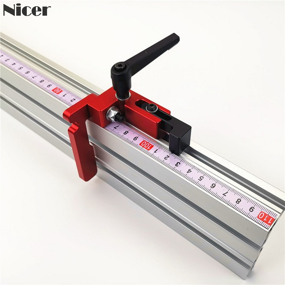 75mm Height With T-tracks Stop Miter Gauge Table Saw Aluminium Profile 75mm Height T-tracks Stopper Wood Working Tool