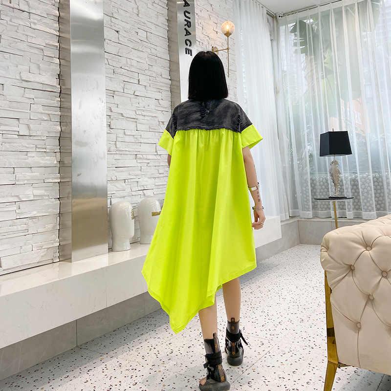 Übergroßen Midi Kleid Frauen Zipper Sommer Vestido Mujer Asymmetrische Lose Beiläufige Patchwork Gewaschen Denim Metall Ringe Schmücken