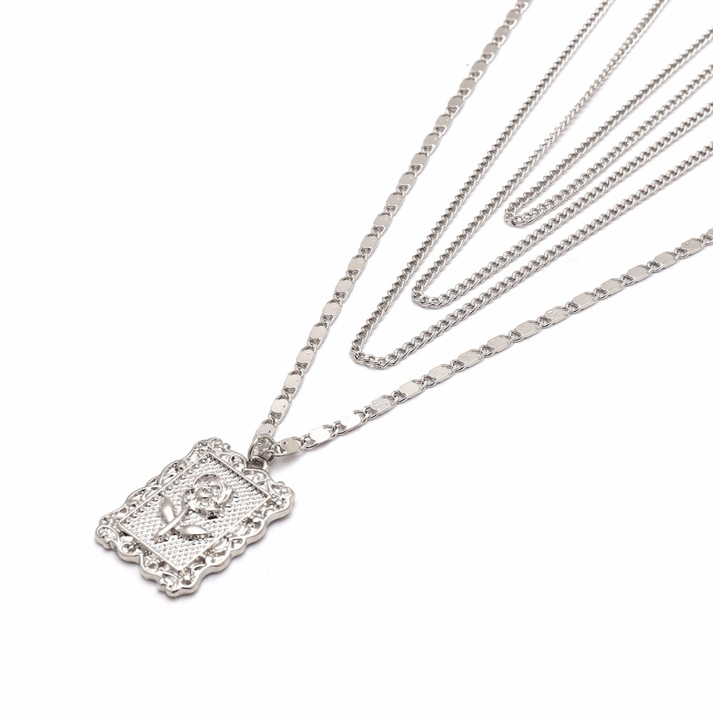 Ingemark Statement Multilayer Square Pendants Rose Pattern Circle Choker Necklace Clavicle Chain Fashion Jewelry for Women 10