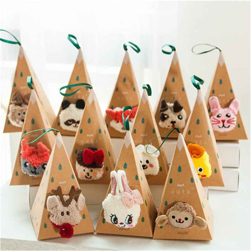 Cute Animal Design Deer Christmas Socks Gift 3D Fluffy Coral Velvet Thick Warm Winter Sock For Women New Year Gift Sox With Box
