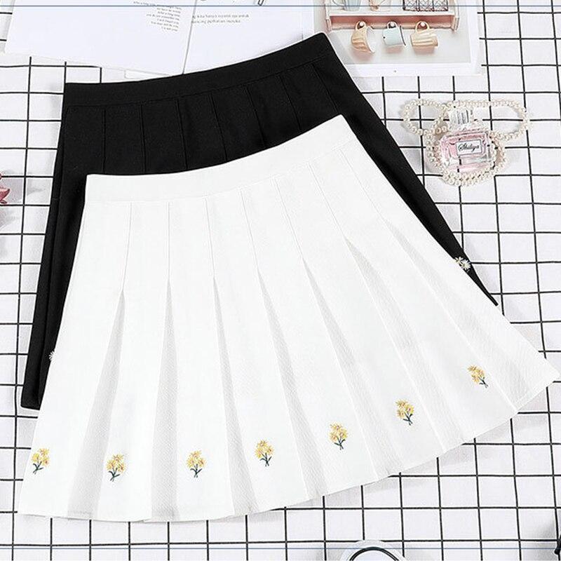 Skirt Preppy Style High Waist Chic Embroidery Skirt Summer Student Little Daisy Pleated Skirt Female Cute Sweet Girl Dance Skirt