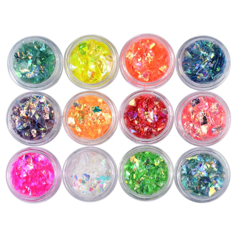 12 12 Box/set Manicure Shell Cellophane Colorful Candy Aurora Papers Hard Epoxy Filling Nail Polish Adhesive Decorative Dotted