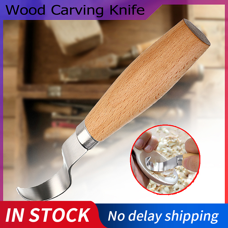 New Stainless Steel Woodcarving Cutter Carving Knife Woodcut Tools Woodwork Sculptural DIY Wood Handle Chisel Spoon Tools|Chisel| |  - title=