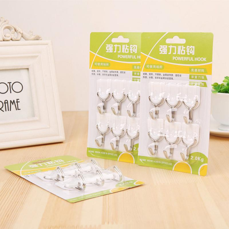 6Pcs/set Strong Sticky Hooks Door Wall Hanger Holder Tiles Glass Adhesive Hooks For Bathroom Kitchen Utensil Clothing