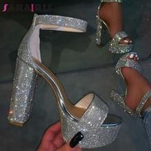 SARAIRIS New INS Hot Ladies Summer High Heels Evening Sandals Party Shining Sandals Women Fashion Wedding Crystal Shoes Woman