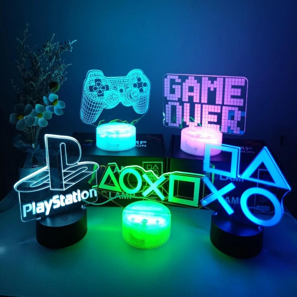 3d night lamp gaming room desk setup lighting decor on the table game console icon logo sensor light for kids bedside gift