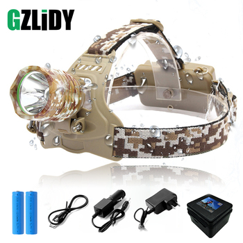 Camouflage Led Headlamp Waterproof T6 LED Headlight led Head Lamp Lantern Lamp Camping Hiking Fishing Light use 18650 battery