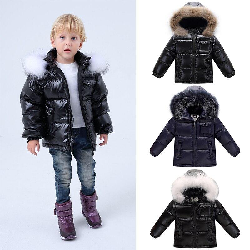 Enfants 90% blanc canard vers le bas neige vêtements chauds d'extérieur hiver vestes manteaux 2019 nouveau bébé garçon Parka filles grande Nature blouson à capuche en fourrure