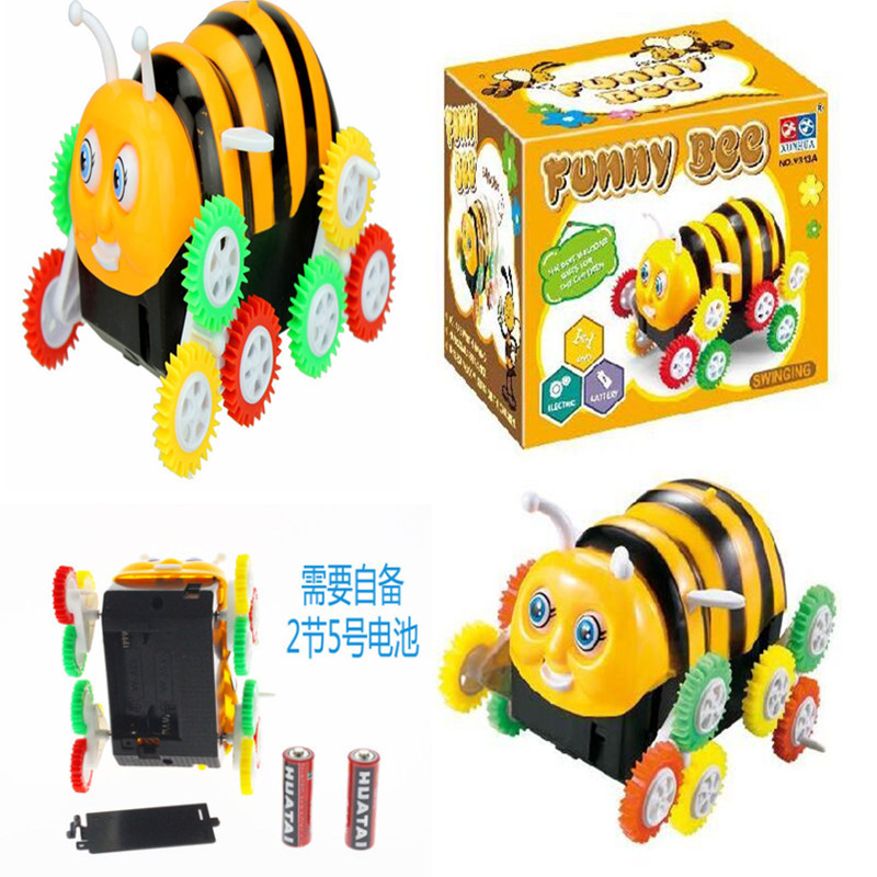 Creative Novelty Electric Toys Cartoon Bees Dump Truck Small Bees Toy Car Case Barriers Automatic Roll