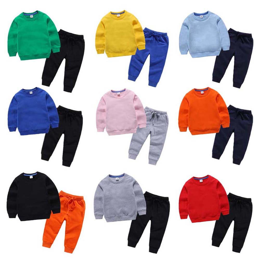 New Spring Children's Fashion Clothing Kid Boys Girls Candy Color Cotton Long Sleeve Soft Baby Tops Pants Sets Toddler Outfits