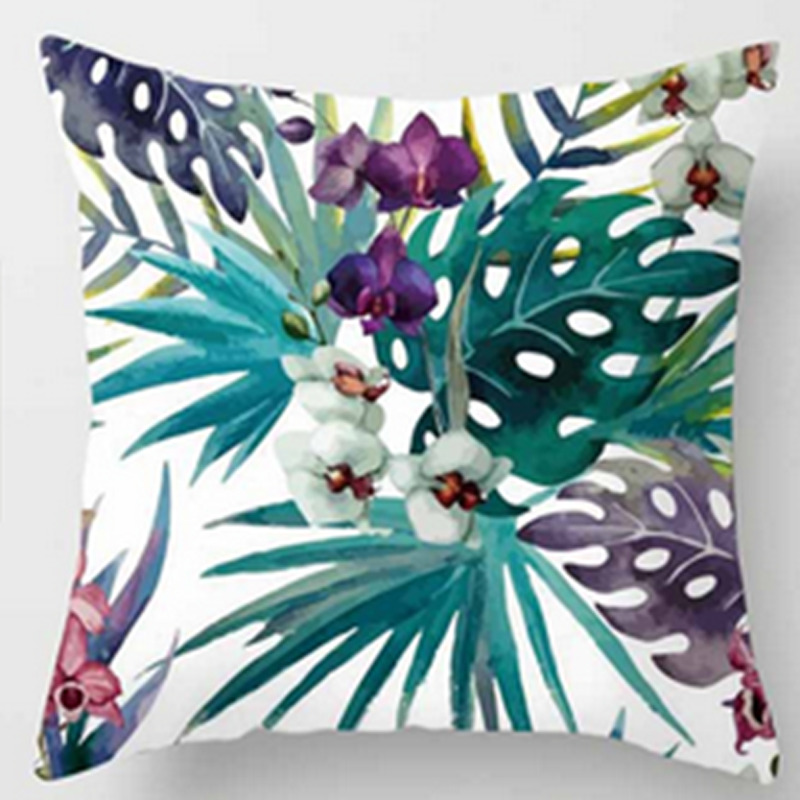 2020 1PCS Tropical Plants Green Leaves Cushion Cover New Year Home Decorative Cotton Linen Pillow Covers For Sofa Throw Pillows