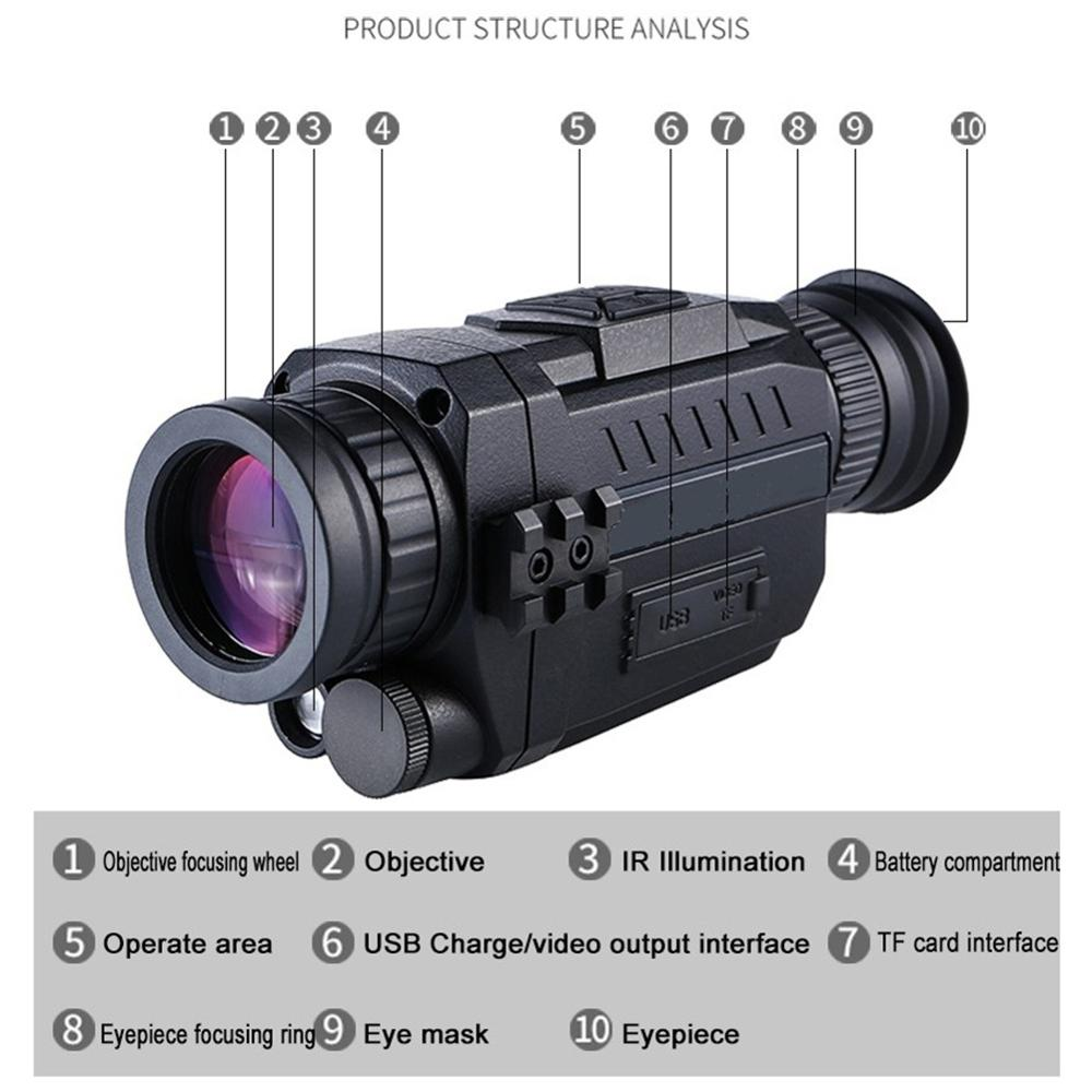 Five-fold Digital Night Vision Hunting Patrol All-Black Infrared Night Vision High-Definition Digital Monocular Night Vision Tel