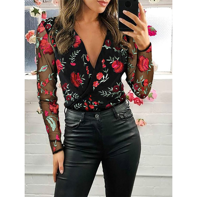 2021 Women's Chiffon Shirt Net Yarn Floral Embroidery Blouse Female Deep V-Neck Long-Sleeved Stitching Casual Women's Blouse 5