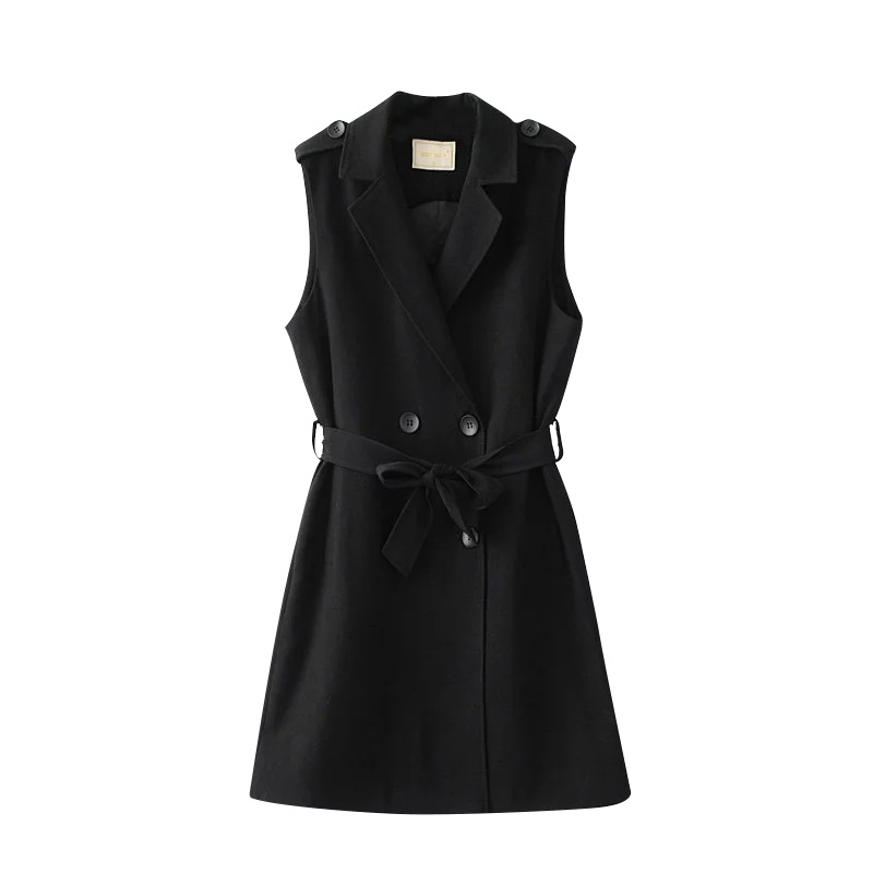 Пиджак без рукавов костюм жилет женский тонкий длинный Блейзер жилет пальто жилет офисный женский элегантный черный двубортный жилет с поя...