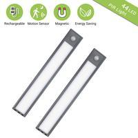 Светодиодная подсветка под шкаф 20/30 см USB Перезаряжаемые движения Сенсор шкаф Ночной светильник с Магнитная прокладка для Кухня шкаф прихож...