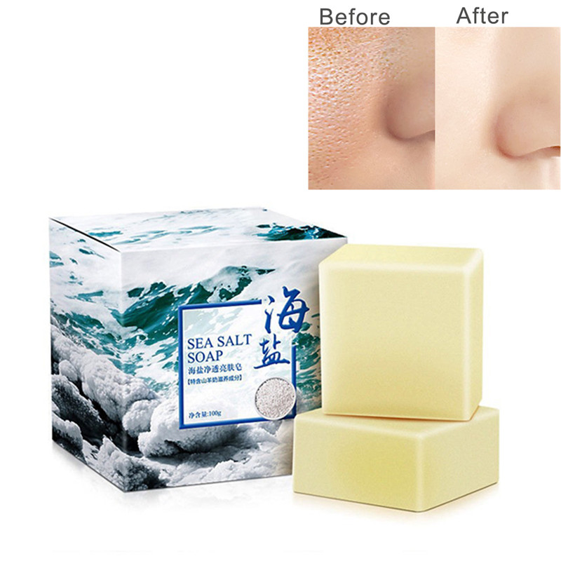 Sea Salt Facial Cleaning Soap For Acne Fungus Bath Soap Whitening Removing Mites Replenishing Water Shining Rejuvenating Skin