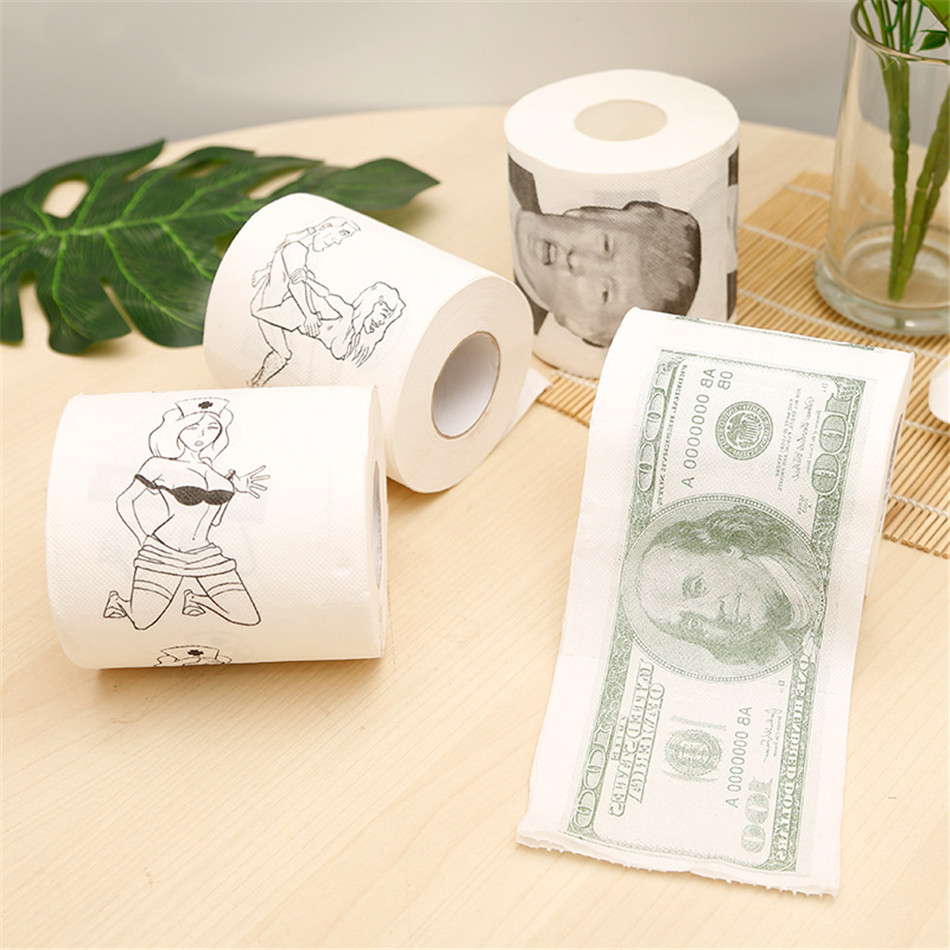 Купить с кэшбэком 4 Rolls 2 layers President Donald Trump Toilet Paper Creative Bathroom Prank Joke Fun Paper Tissue Gag Gift Prank Joke Roll