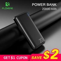 Banco de potência floveme 20000 mah para xiaomi carregador portátil porta usb dupla powerbank 10000 mah carregador portátil carregador portátil portátil|Baterias Externas| |  -