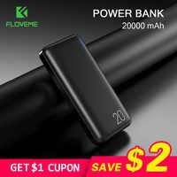 FLOVEME banco de potencia 20000mAh para Xiaomi Cargador portátil de puerto Dual USB Powerbank 10000mAh Cargador portátil Batería externa Movil