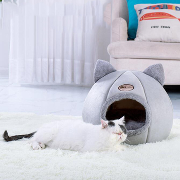 Plush Cat House Self Warming Indoor Cats Dog Bed with Removable Mattress Puppy Kitten Hamster Cage Cave Soft Lounger Sofas 1