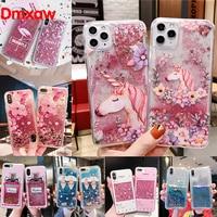 Per iPhone 12 11 Pro XS Max XR X XS SE 2020 8 7 6 6s Plus 5 5s Cover floreale Unicorn Flamingo Glitter Water Liquid Phone Case