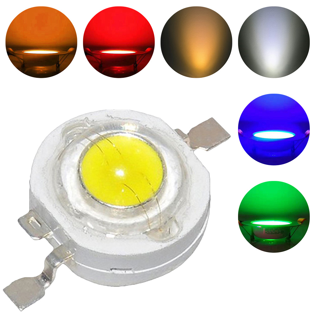 1pc 1W/<font><b>3W</b></font> High Power <font><b>LED</b></font> Light-Emitting Diode <font><b>LEDs</b></font> Chip <font><b>SMD</b></font> Warm White Red Green Blue Yellow For SpotLight Downlight Lamp Bulb image