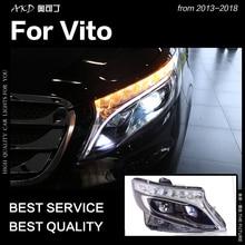 АКД стайлинга автомобилей Фара для бенц Вито фары 2013-2019 W447 светодиодный задний фонарь светодиодный DRL объектив проектора динамический авто ...