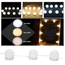 Hollywood Style10 LED Spiegel Verlichting met Dimbare Lampen Verlichting Armatuur Strip voor Kaptafel Spiegel Licht
