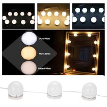Hollywood style10 led vaidade espelho luzes com luz regulável lâmpadas de iluminação tira para penteadeira espelho luz