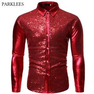 Image 1 - Роскошные красные блестящие мужские блестящие рубашки с длинным рукавом для дискотеки и вечеринки, повседневные приталенные костюмы для сценического танца и выпускного вечера, рубашка