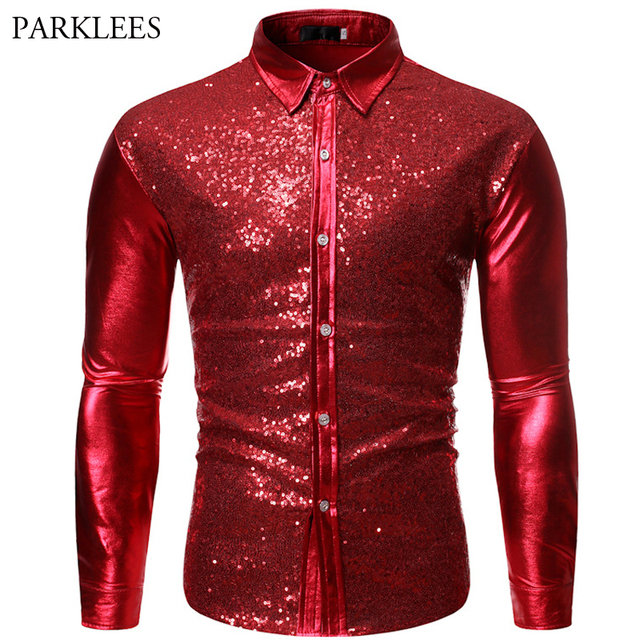 Luxury Red Glitter Sequin Shirt Men Long Sleeve Mens Shiny Disco Party Shirts Casual Slim Fit Stage Dance Prom Costume Chemise