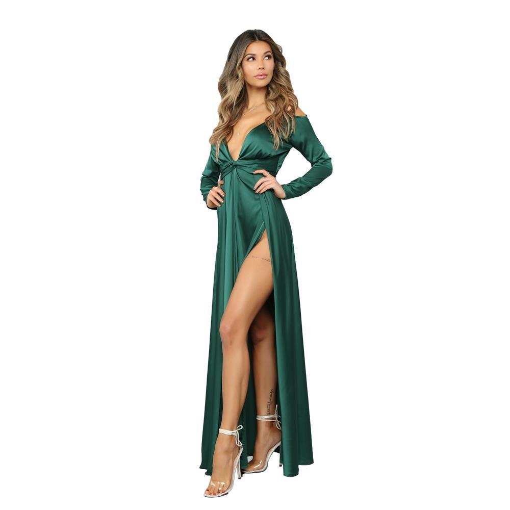 Deep V High Slit Sexy Dress Summer Waist Harness Long Stitching Ladies Dresses