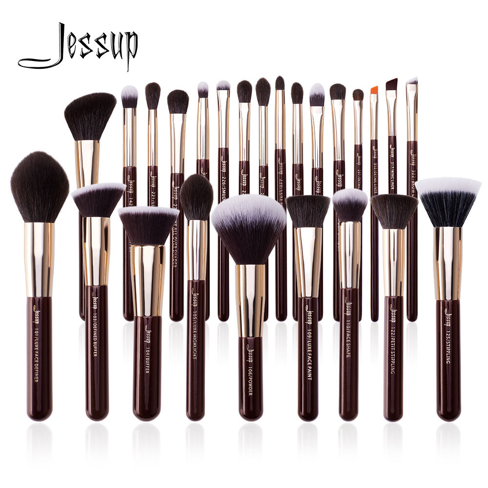Jessup Juego de brochas de maquillaje, pelo sintético Natural profesional, base en polvo, sombra de ojos, 15 25 uds.|rizador de pestañas| - AliExpress