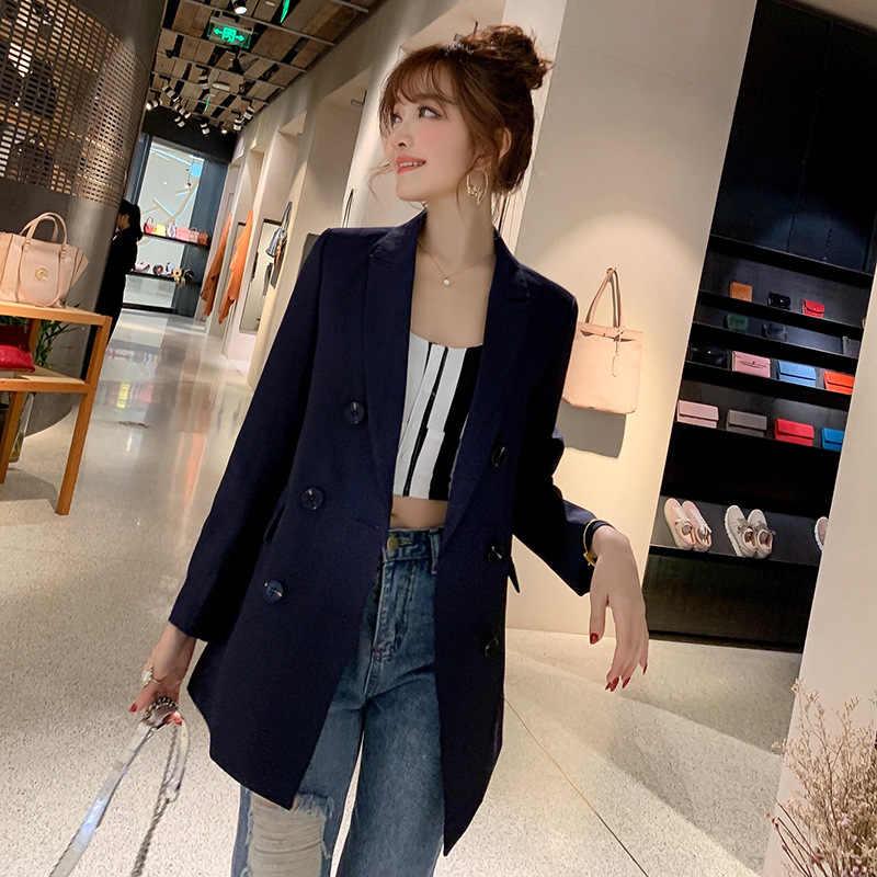 Samgpilee señoras Blazer Blaser de manga larga mujeres traje chaqueta femenina Blazer femenino mujer rosa azul blanco negro Blazer otoño