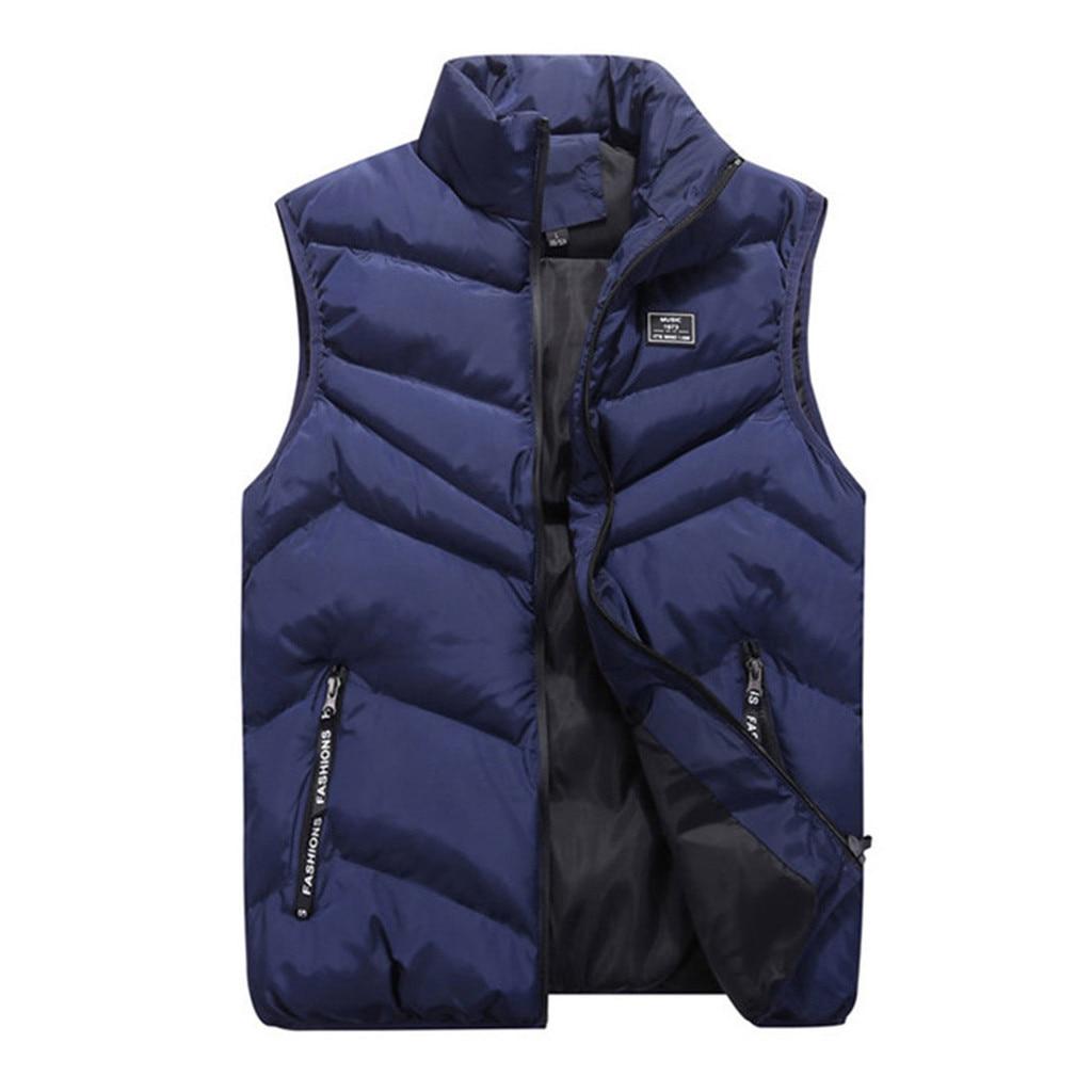 Men Autumn Winter Vest Jackets Stand Collar Pure Color Waistcoat Pocket Vest Top Man Coats Warm Cotton-Padded Gilet Veste Hommes