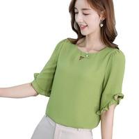2019 новый корейский рубашка женские топы блузки весна-лето рубашки мода уличный рюшами элегантная работа в офисе стройная блузка зеленый Ру...