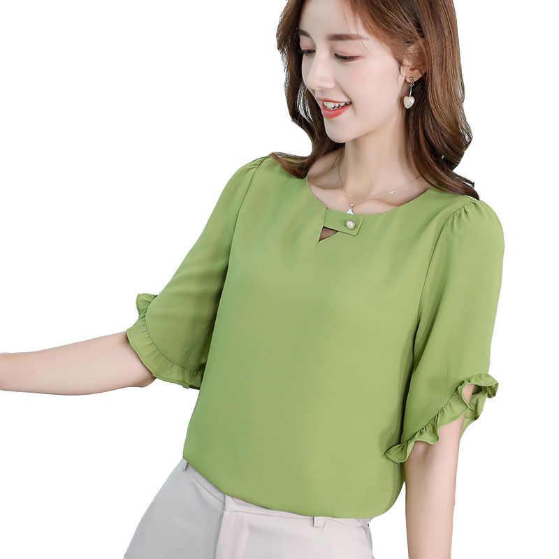 2019 新韓国シャツ女性ブラウス春夏のシャツのファッションストリートフリルエレガントな事務スリムブラウスグリーン Blusa