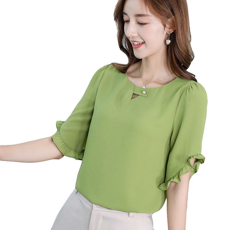 2019 New Korean   Shirt   Women Tops   Blouses   Spring Summer   Shirts   Fashion Street Ruffle Elegant Office Work Slim   Blouse   Green Blusa
