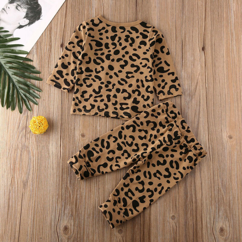 UK 2019 Infant Baby Girl Leopard Clothes Fly-Sleeve Tops+Long Pants 3PCS Outfit