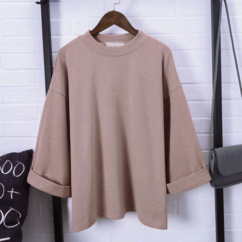 Newly Women 3/4 Sleeves T-shirt Oversize Loose Round Neck Minimalist Autumn Tops  IR-ing