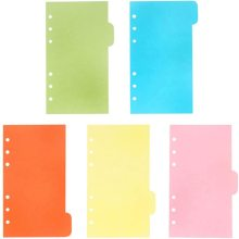 5 Colors A Set A6 Dividers 6 Holes Ring Colored Notebook Planner Divider Index Page Tab Cards School Stationery