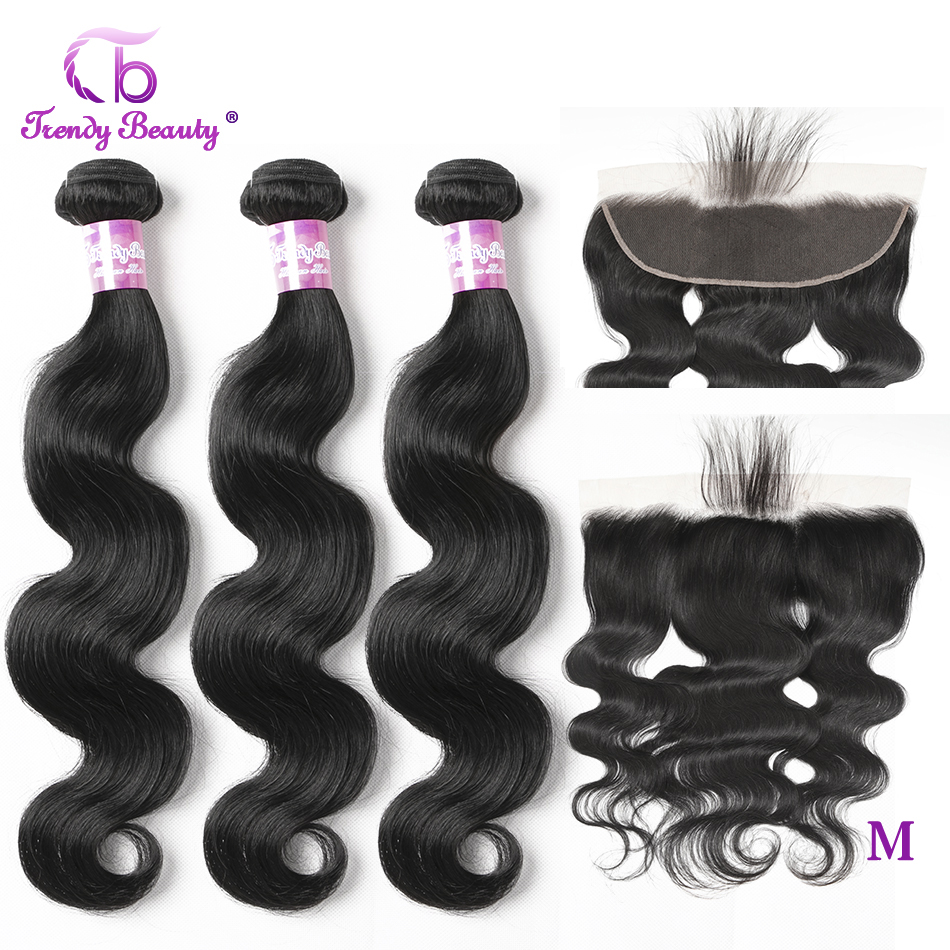 Trendy Beauty Peruvian Body Wave Human Hair 3 Bundles With 13x4 Ear To Ear Lace Frontal Non-Remy 4pcs/lot Bundles With Closure