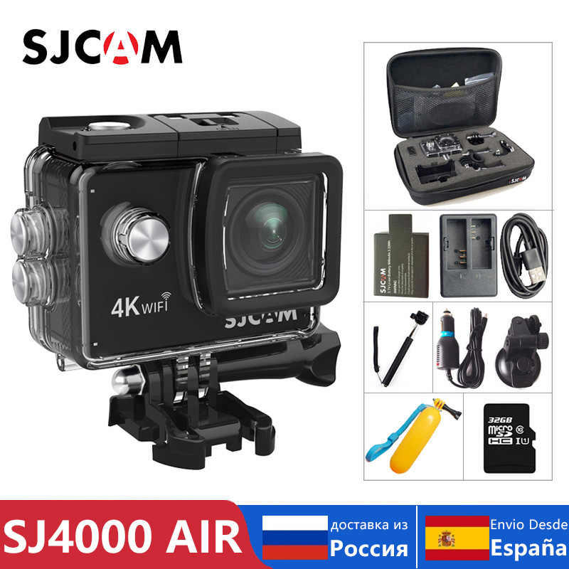 "100% Asli SJCAM SJ4000 Air Action Camera Full HD Allwinner 4K 30FPS Wifi 2.0 ""Layar Mini Helm Tahan Air olahraga DV Kamera"